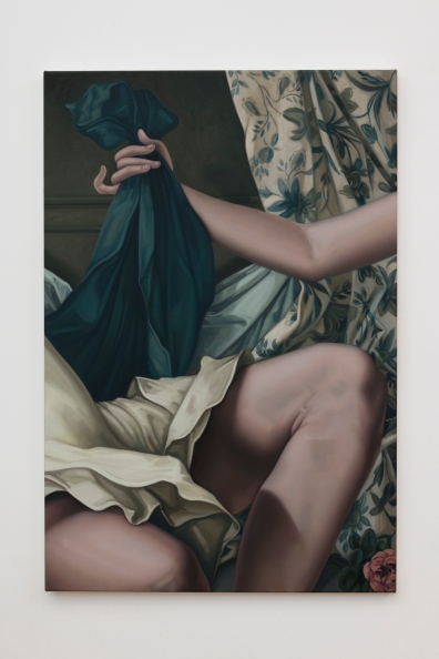 "Jesse Mockrin, ""The Visit Received,"" 2016, oil on linen, 37 x 25 inches, Photo by Jeff McLane."